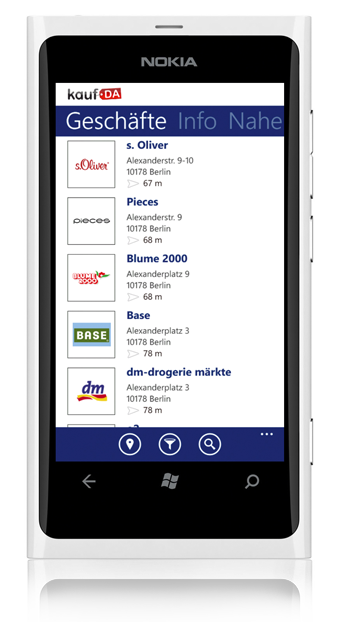 kostenlose Windows Phone 7-App - kaufDA Navigator